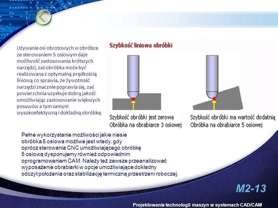 Używanie osi obrotowych w obróbce ze sterowaniem 5 osiowym daje możliwość zastosowania krótszych narzędzi, zaś obróbka może być realizowana z optymalną prędkością liniową co sprawia, że żywotność narzędzi znacznie poprawia się, zaś powierzchnia uzyskuje dobrą jakość umożliwiając zastosowanie większych posuwów a tym samym wysokoefektywną i dokładną obróbkę.