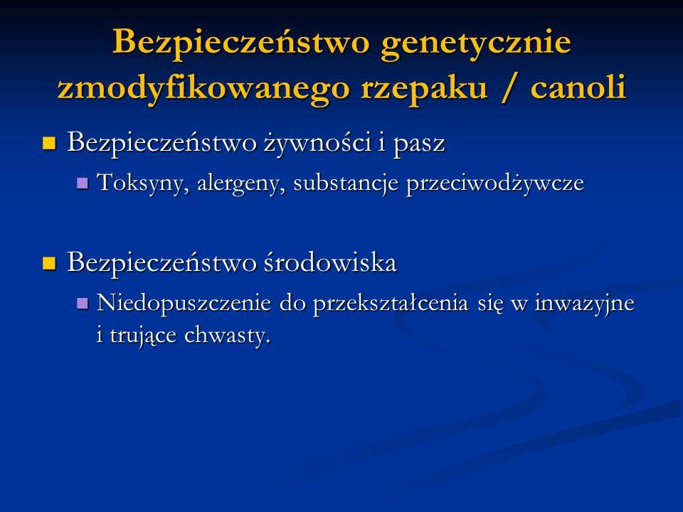 Bezpieczeństwo genetycznie zmodyfikowanego rzepaku / canoli