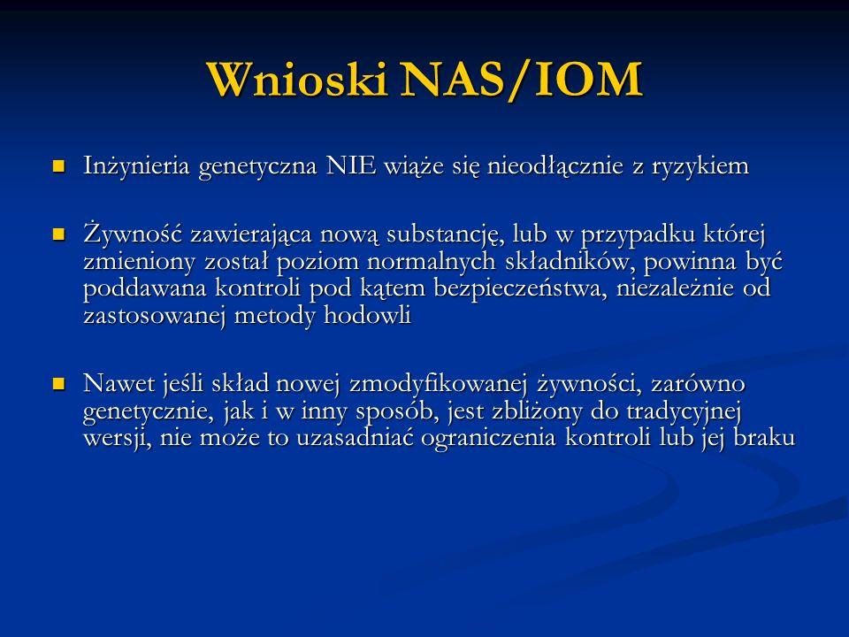 Wnioski NAS/IOM Inżynieria genetyczna NIE wiąże się nieodłącznie z ryzykiem.