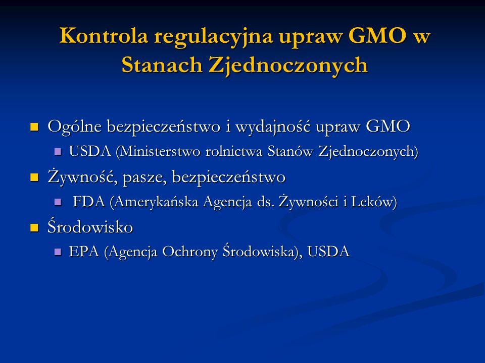 Kontrola regulacyjna upraw GMO w Stanach Zjednoczonych