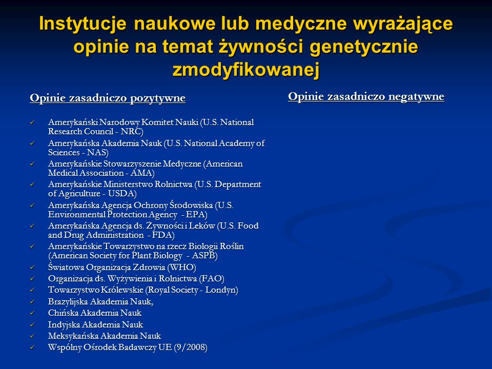 Instytucje naukowe lub medyczne wyrażające opinie na temat żywności genetycznie zmodyfikowanej