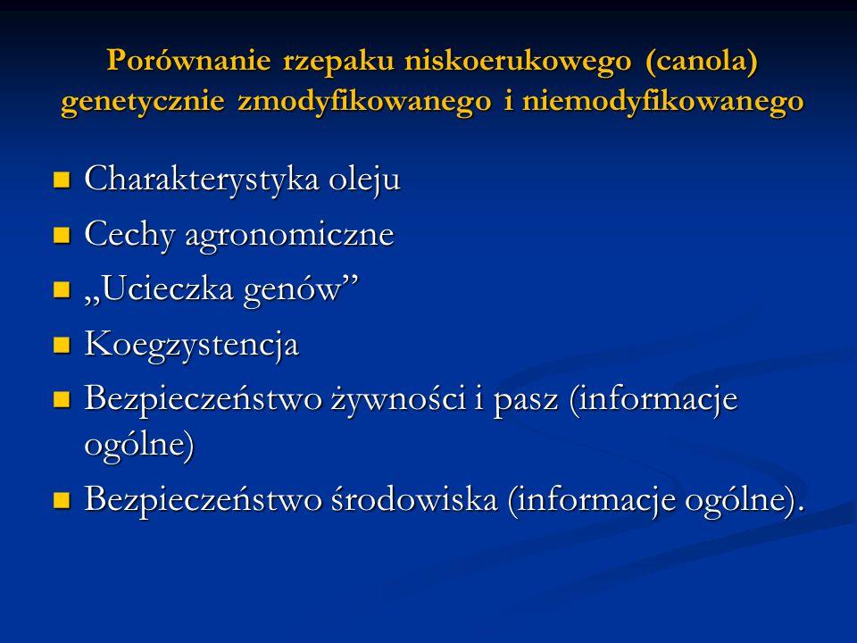 """Charakterystyka oleju Cechy agronomiczne """"Ucieczka genów"""