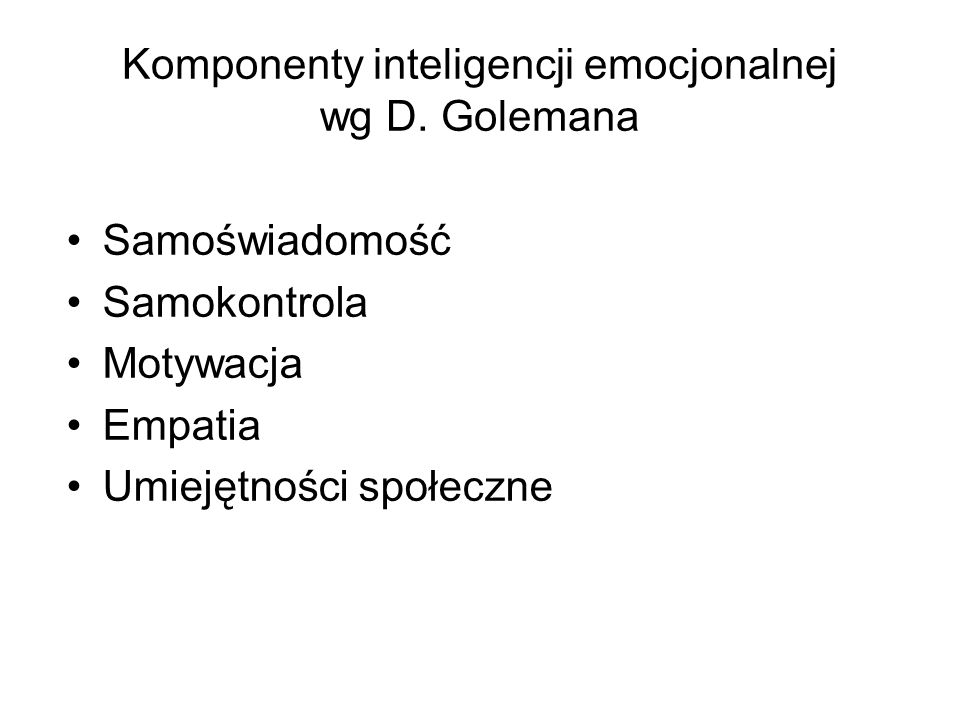 Komponenty inteligencji emocjonalnej wg D. Golemana