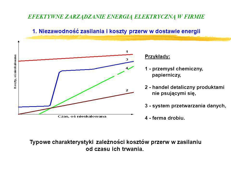 Typowe charakterystyki zależności kosztów przerw w zasilaniu