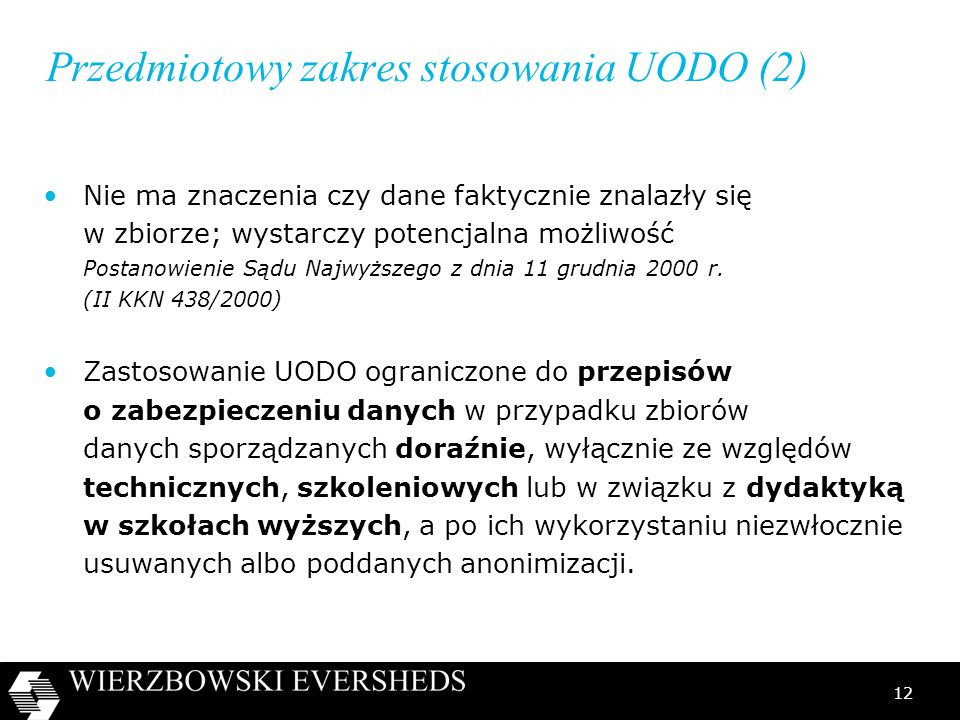 Przedmiotowy zakres stosowania UODO (2)