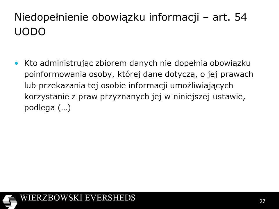 Niedopełnienie obowiązku informacji – art. 54 UODO