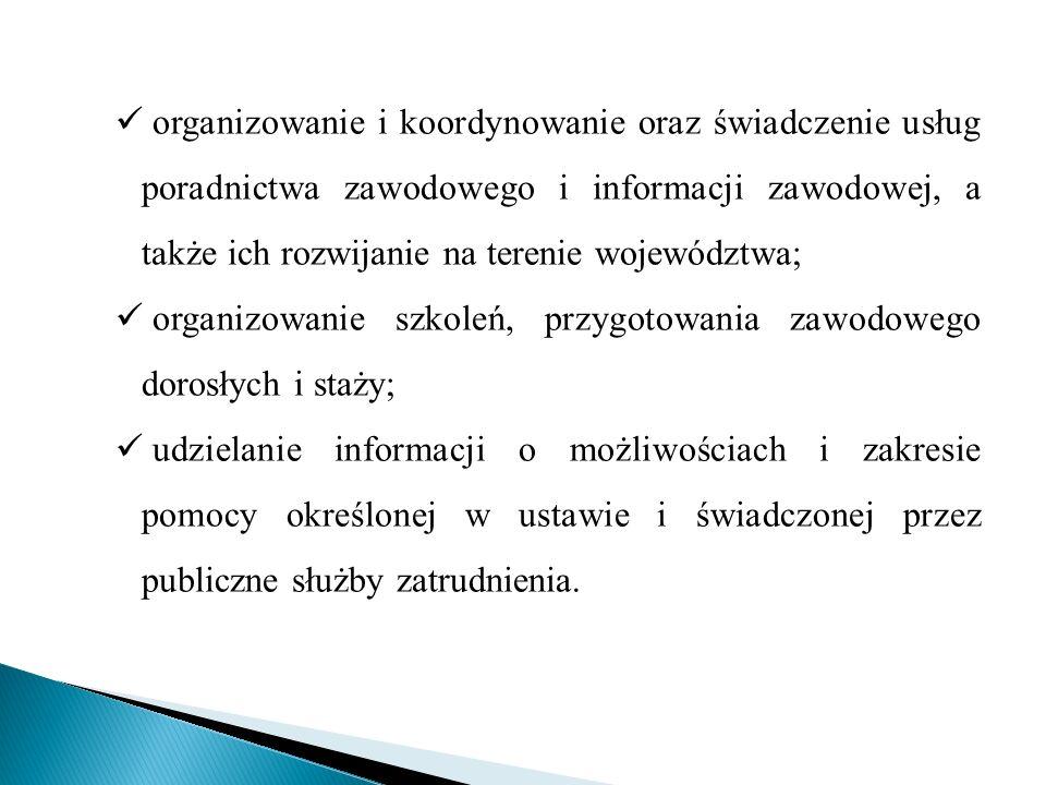 organizowanie i koordynowanie oraz świadczenie usług poradnictwa zawodowego i informacji zawodowej, a także ich rozwijanie na terenie województwa;