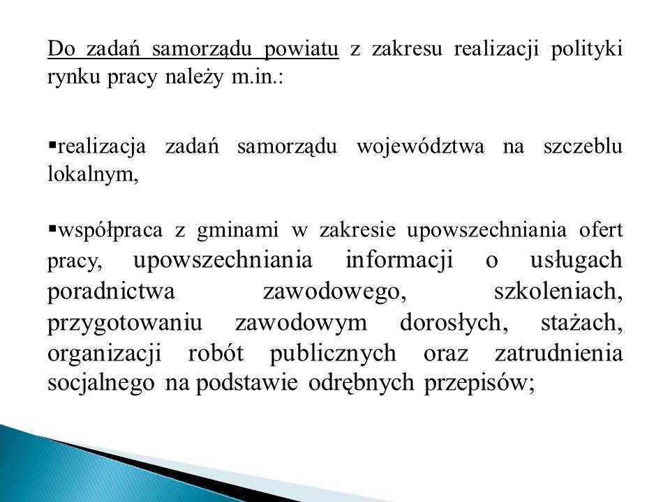 Do zadań samorządu powiatu z zakresu realizacji polityki rynku pracy należy m.in.:
