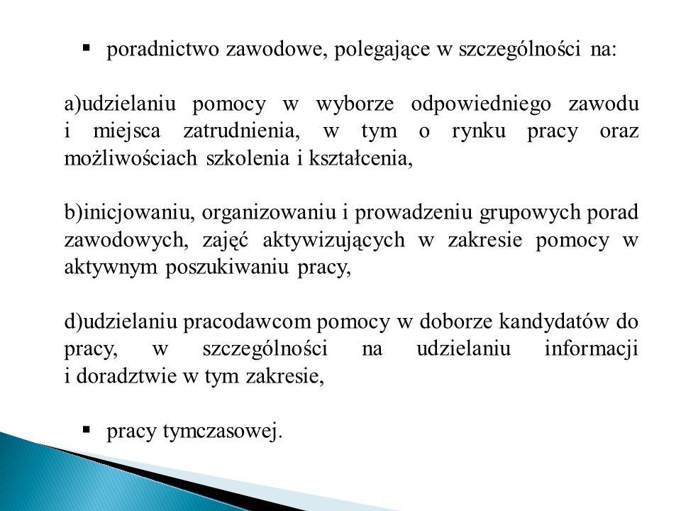 poradnictwo zawodowe, polegające w szczególności na: