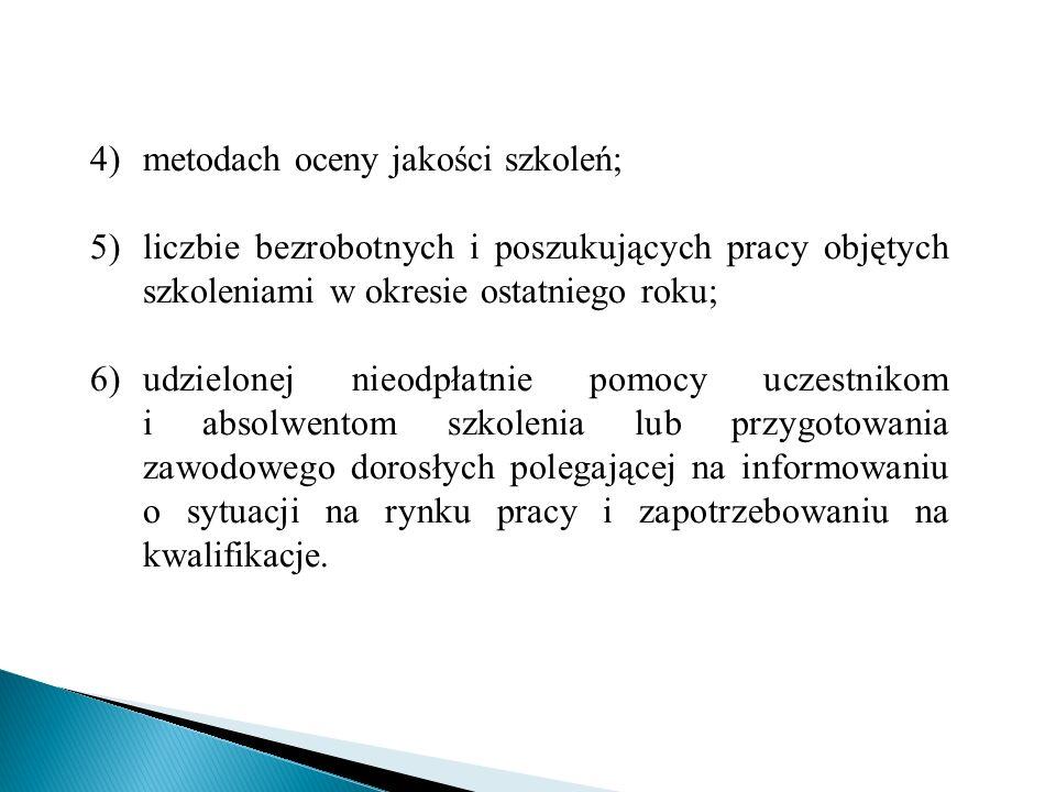 metodach oceny jakości szkoleń;