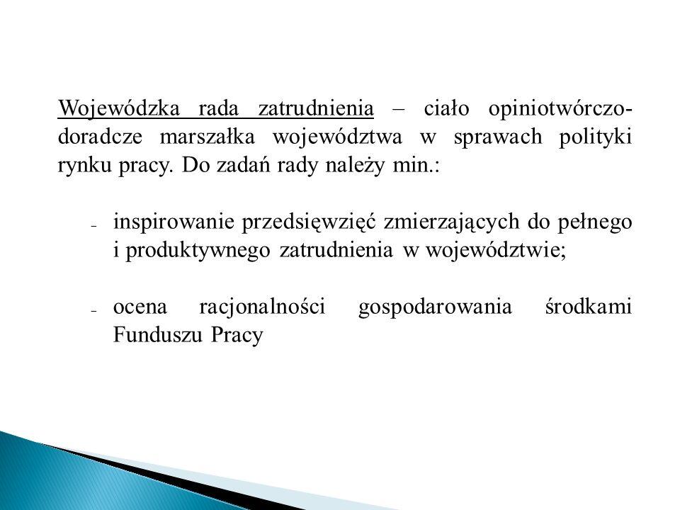 Wojewódzka rada zatrudnienia – ciało opiniotwórczo-doradcze marszałka województwa w sprawach polityki rynku pracy. Do zadań rady należy min.: