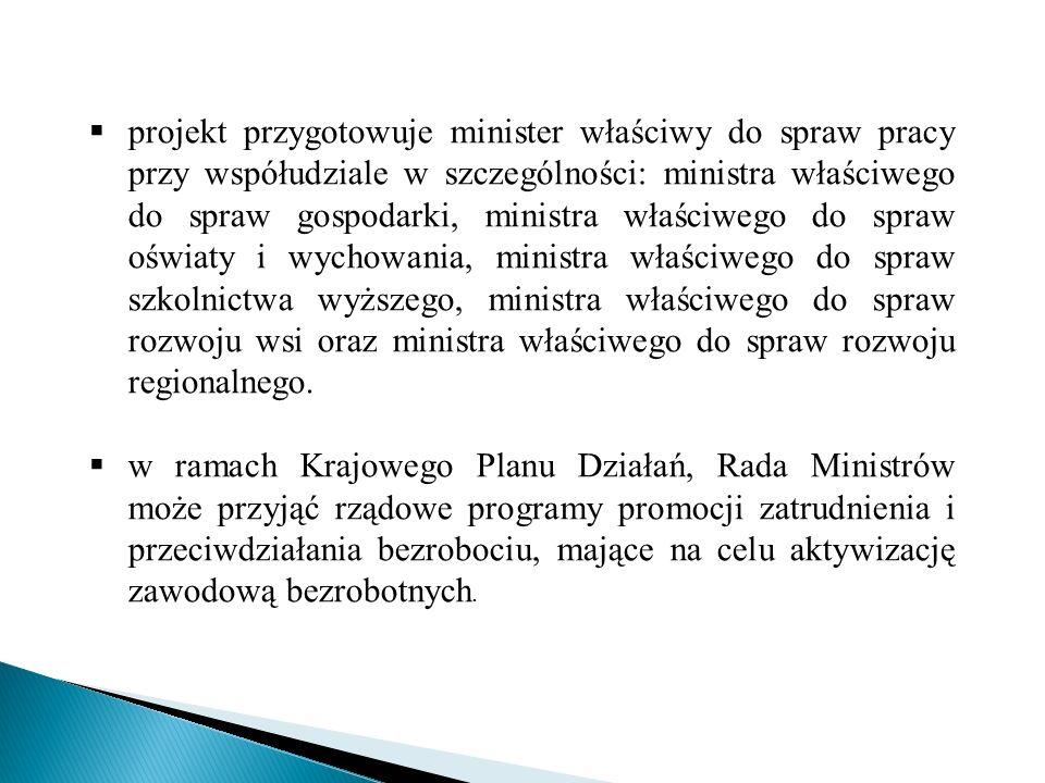 projekt przygotowuje minister właściwy do spraw pracy przy współudziale w szczególności: ministra właściwego do spraw gospodarki, ministra właściwego do spraw oświaty i wychowania, ministra właściwego do spraw szkolnictwa wyższego, ministra właściwego do spraw rozwoju wsi oraz ministra właściwego do spraw rozwoju regionalnego.
