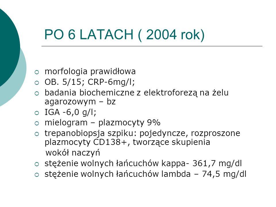 PO 6 LATACH ( 2004 rok) morfologia prawidłowa OB. 5/15; CRP-6mg/l;