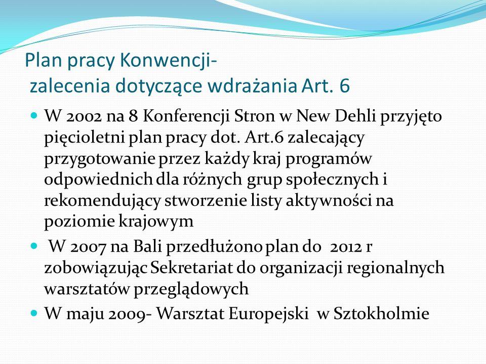 Plan pracy Konwencji- zalecenia dotyczące wdrażania Art. 6