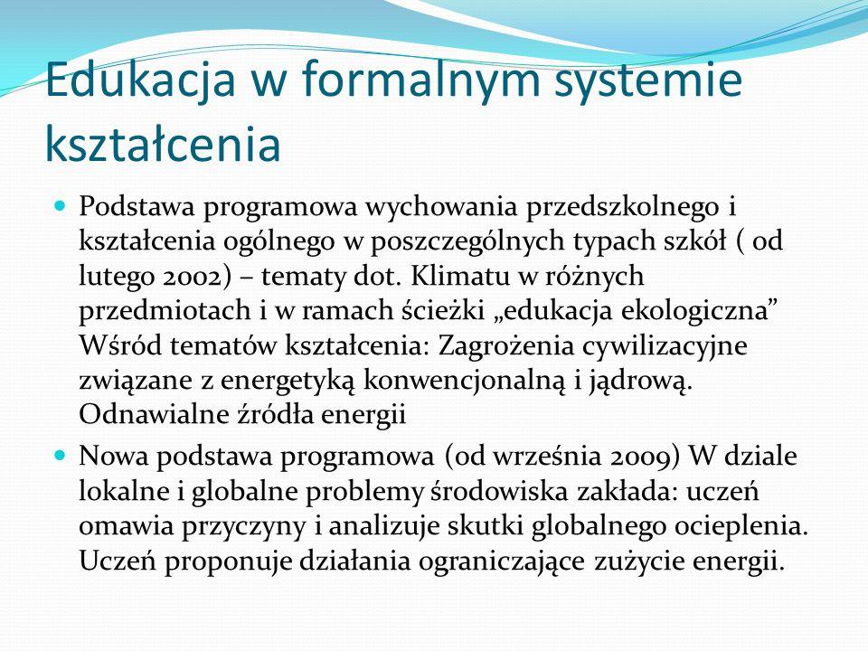 Edukacja w formalnym systemie kształcenia