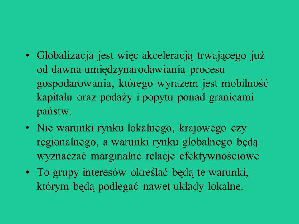 Globalizacja jest więc akceleracją trwającego już od dawna umiędzynarodawiania procesu gospodarowania, którego wyrazem jest mobilność kapitału oraz podaży i popytu ponad granicami państw.