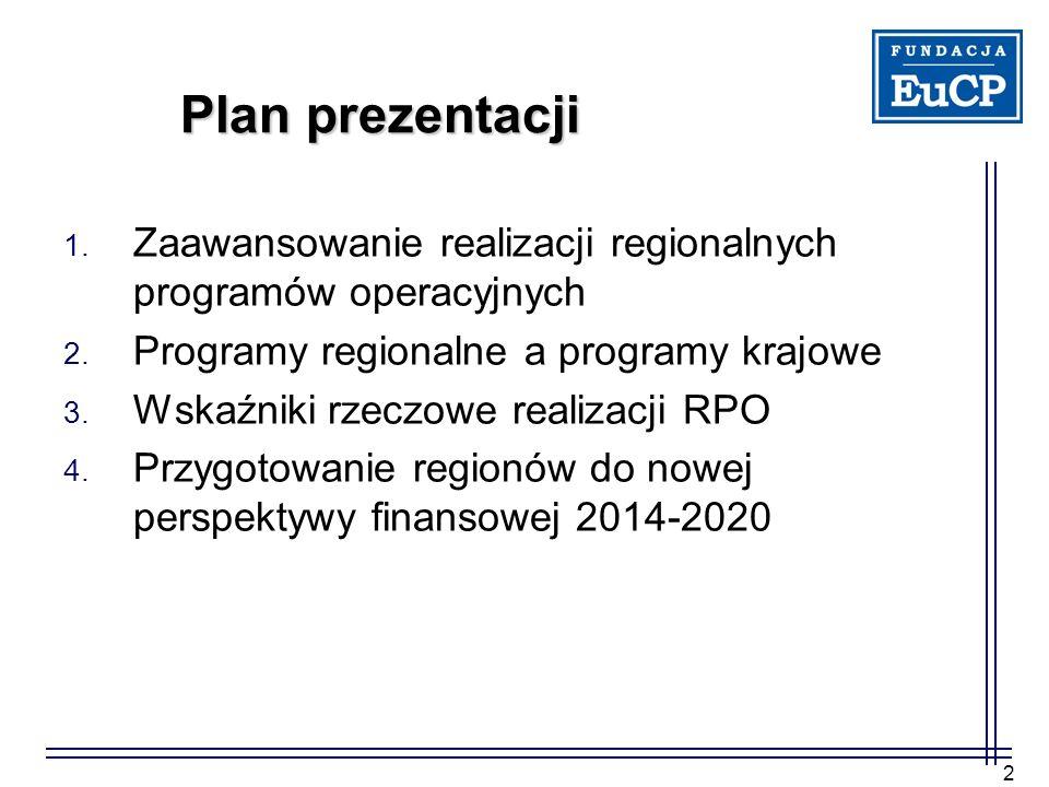 Plan prezentacji Zaawansowanie realizacji regionalnych programów operacyjnych. Programy regionalne a programy krajowe.