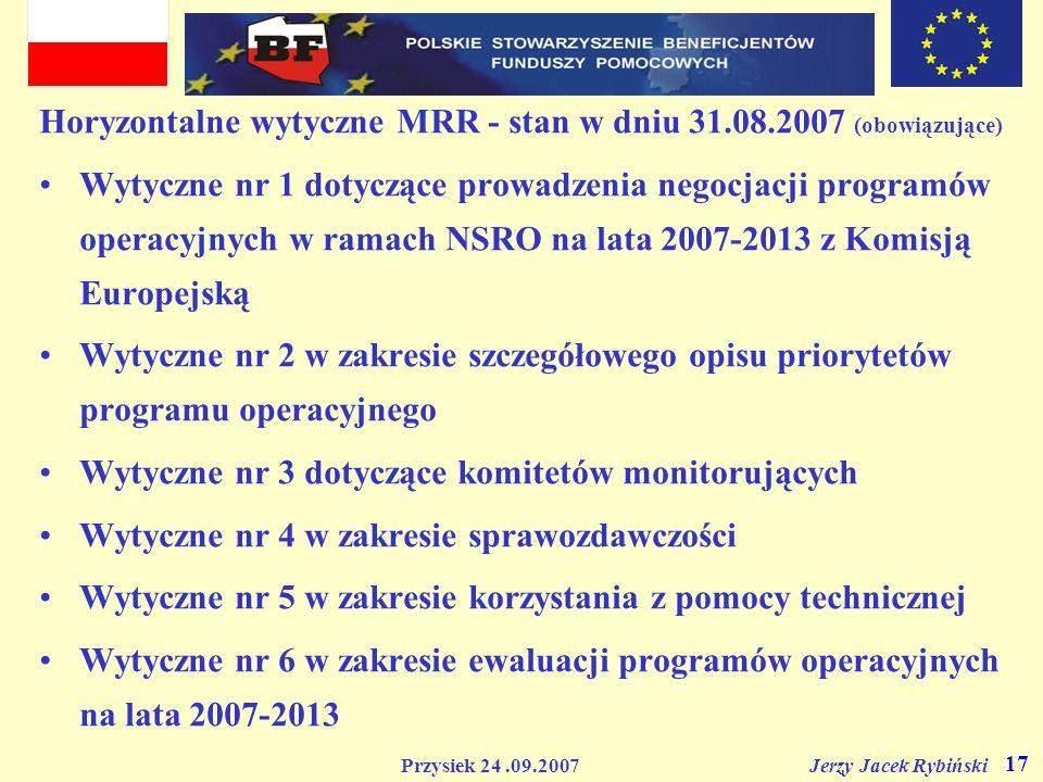 Horyzontalne wytyczne MRR - stan w dniu 31.08.2007 (obowiązujące)