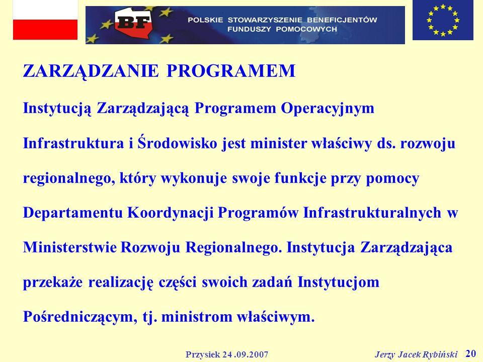 ZARZĄDZANIE PROGRAMEM Instytucją Zarządzającą Programem Operacyjnym Infrastruktura i Środowisko jest minister właściwy ds.