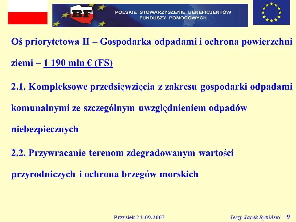 Oś priorytetowa II – Gospodarka odpadami i ochrona powierzchni ziemi – 1 190 mln € (FS)