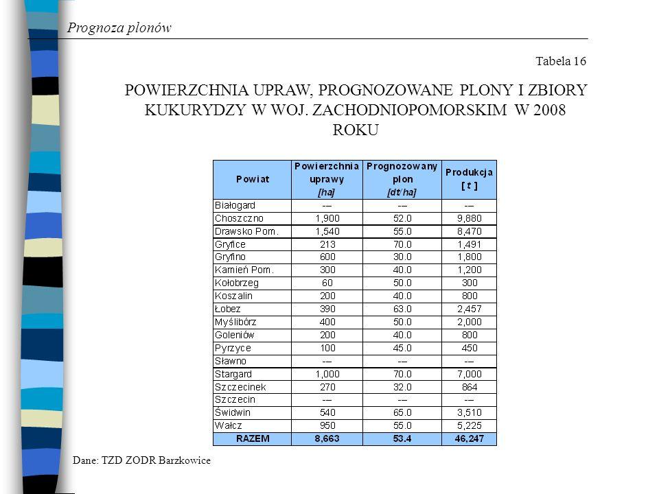 Prognoza plonów Tabela 16. POWIERZCHNIA UPRAW, PROGNOZOWANE PLONY I ZBIORY KUKURYDZY W WOJ. ZACHODNIOPOMORSKIM W 2008 ROKU.