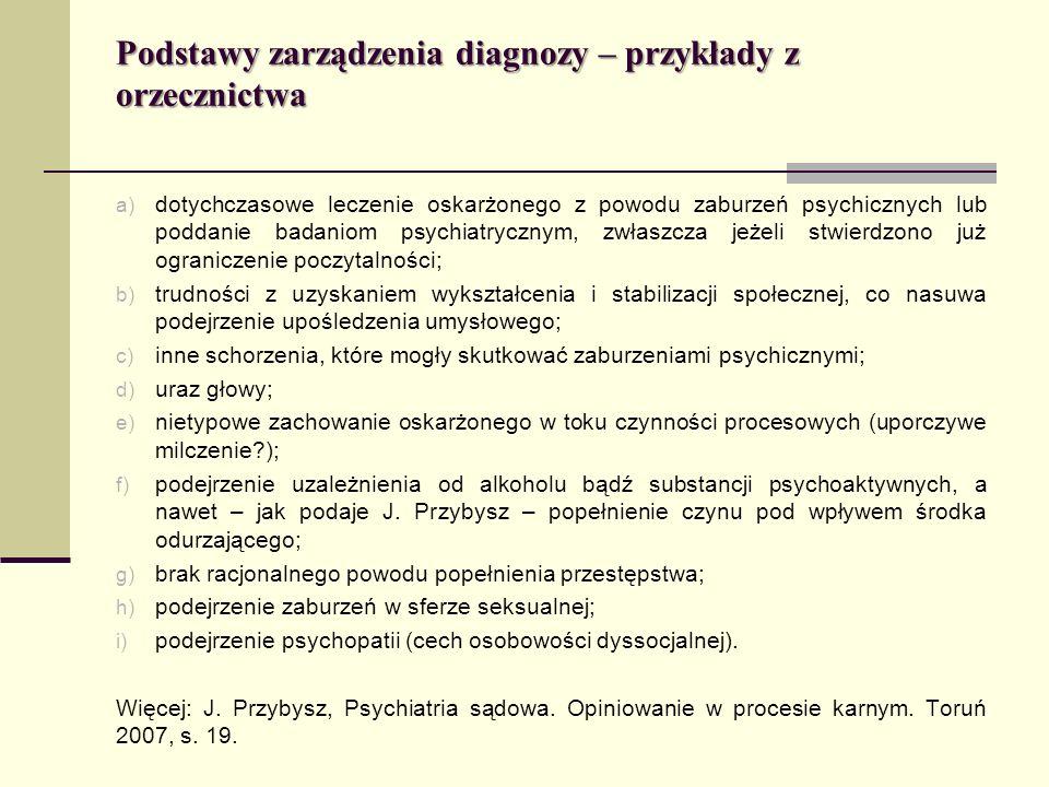 Podstawy zarządzenia diagnozy – przykłady z orzecznictwa