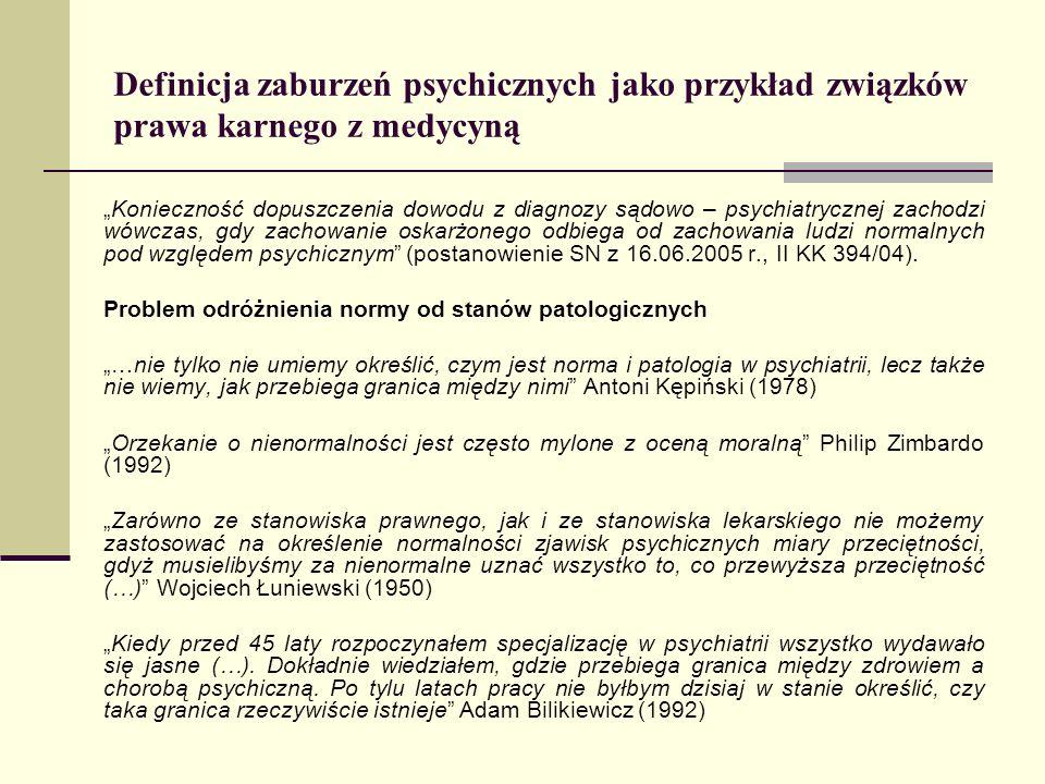 Definicja zaburzeń psychicznych jako przykład związków prawa karnego z medycyną