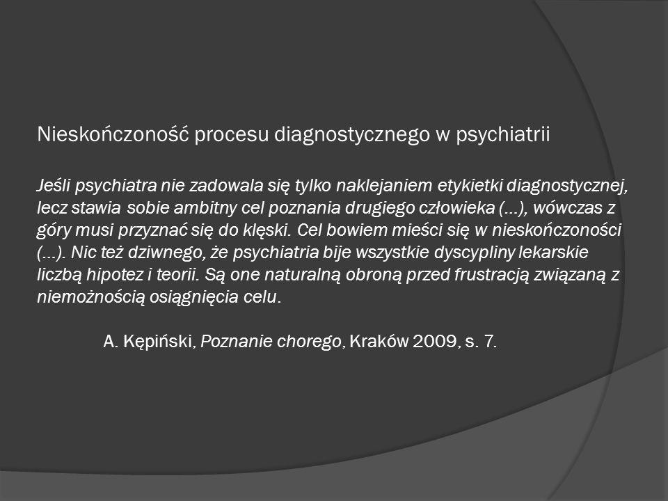 Nieskończoność procesu diagnostycznego w psychiatrii Jeśli psychiatra nie zadowala się tylko naklejaniem etykietki diagnostycznej, lecz stawia sobie ambitny cel poznania drugiego człowieka (…), wówczas z góry musi przyznać się do klęski.