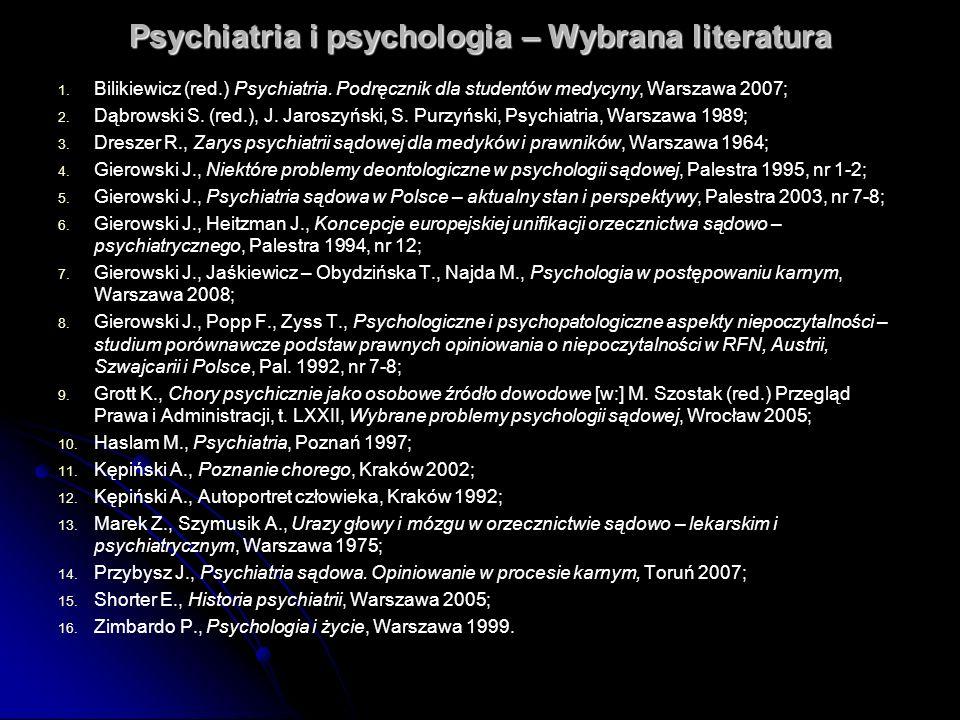 Psychiatria i psychologia – Wybrana literatura