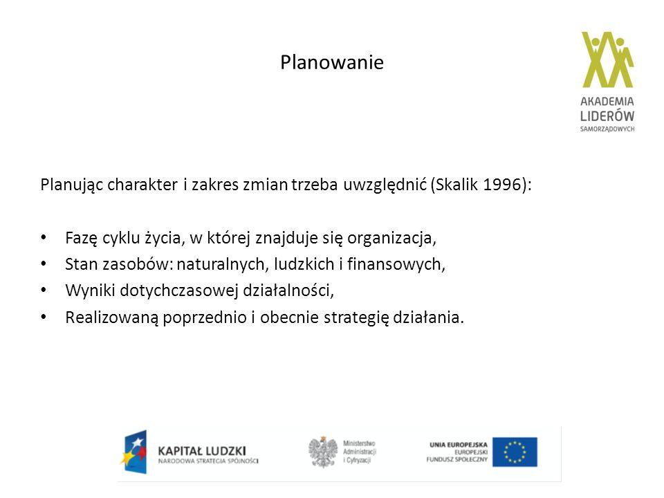 Planowanie Planując charakter i zakres zmian trzeba uwzględnić (Skalik 1996): Fazę cyklu życia, w której znajduje się organizacja,