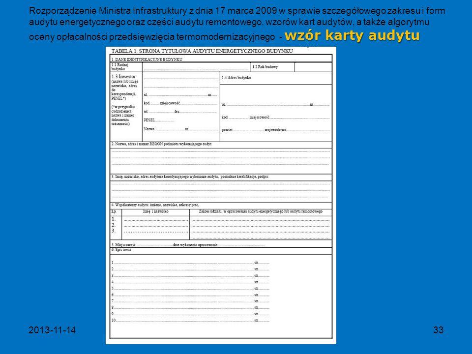 Rozporządzenie Ministra Infrastruktury z dnia 17 marca 2009 w sprawie szczegółowego zakresu i form audytu energetycznego oraz części audytu remontowego, wzorów kart audytów, a także algorytmu oceny opłacalności przedsięwzięcia termomodernizacyjnego - wzór karty audytu