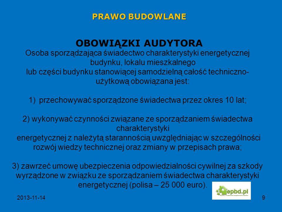 OBOWIĄZKI AUDYTORA PRAWO BUDOWLANE