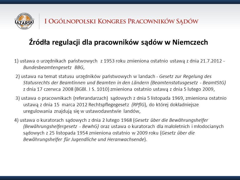 Źródła regulacji dla pracowników sądów w Niemczech