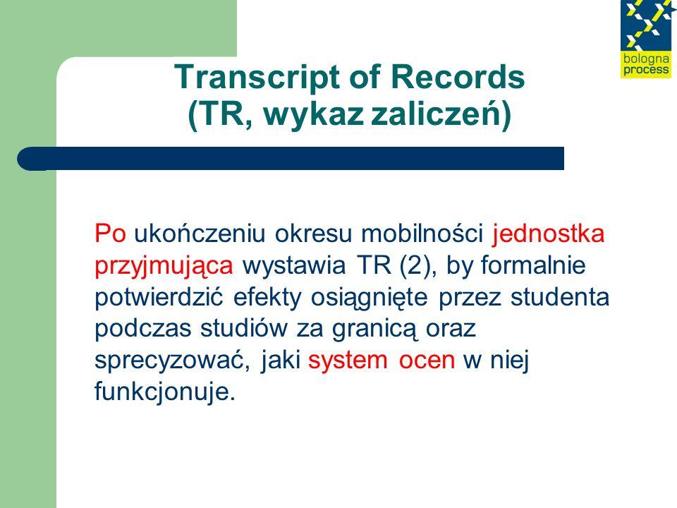 Transcript of Records (TR, wykaz zaliczeń)