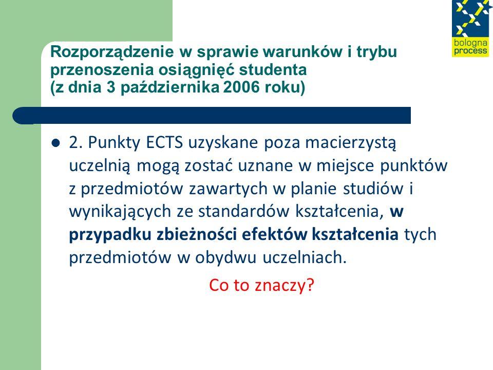 Rozporządzenie w sprawie warunków i trybu przenoszenia osiągnięć studenta (z dnia 3 października 2006 roku)