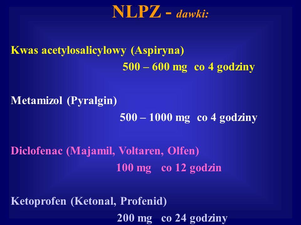 NLPZ - dawki: Kwas acetylosalicylowy (Aspiryna)
