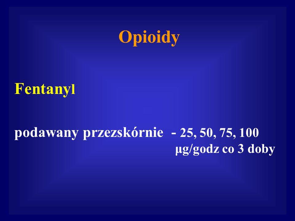Fentanylpodawany przezskórnie - 25, 50, 75, 100 μg/godz co 3 doby.