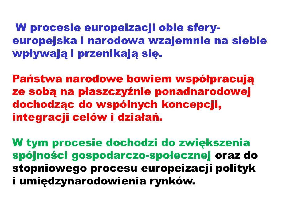 W procesie europeizacji obie sfery-europejska i narodowa wzajemnie na siebie wpływają i przenikają się.