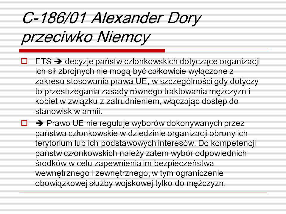 C-186/01 Alexander Dory przeciwko Niemcy