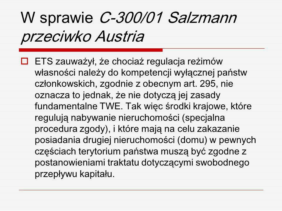 W sprawie C-300/01 Salzmann przeciwko Austria