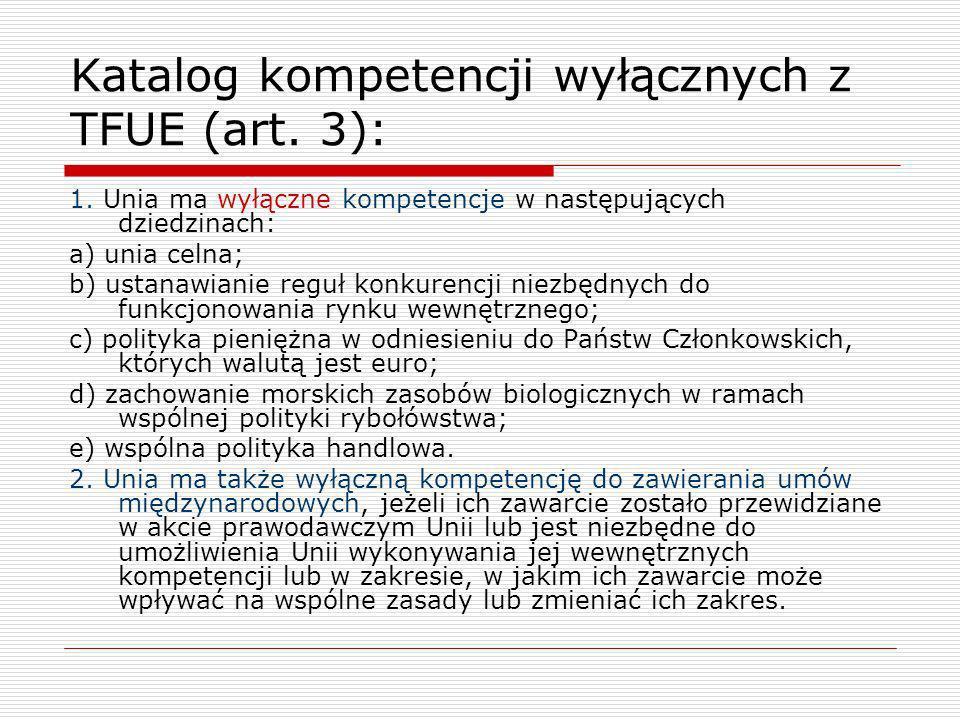 Katalog kompetencji wyłącznych z TFUE (art. 3):