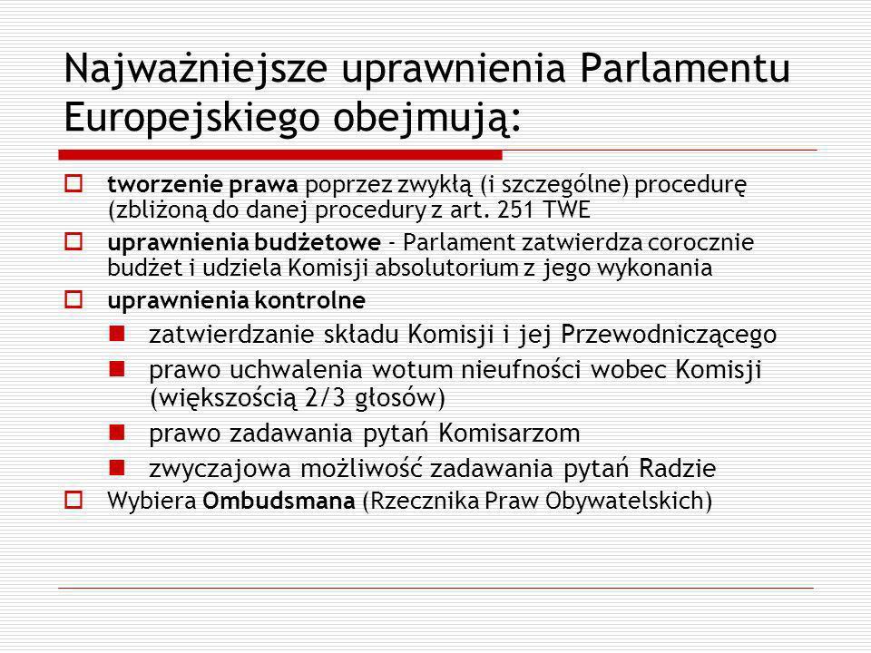 Najważniejsze uprawnienia Parlamentu Europejskiego obejmują: