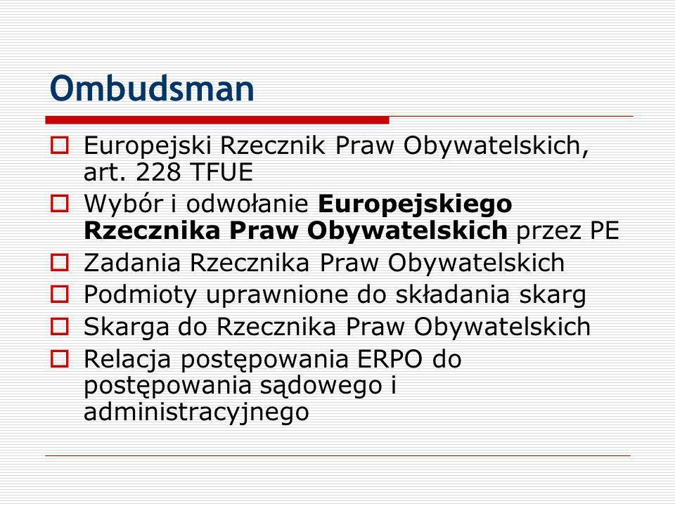 Ombudsman Europejski Rzecznik Praw Obywatelskich, art. 228 TFUE