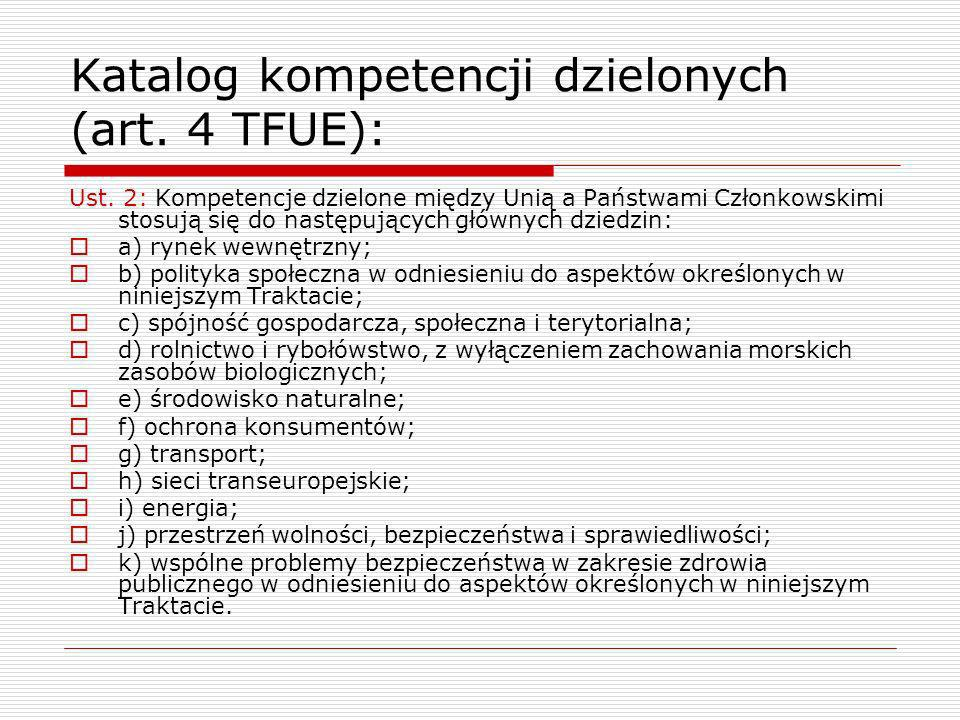 Katalog kompetencji dzielonych (art. 4 TFUE):