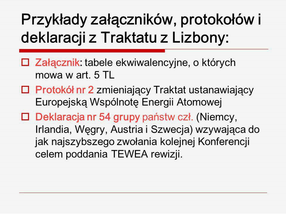Przykłady załączników, protokołów i deklaracji z Traktatu z Lizbony: