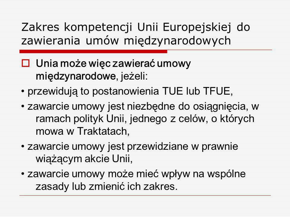 Zakres kompetencji Unii Europejskiej do zawierania umów międzynarodowych