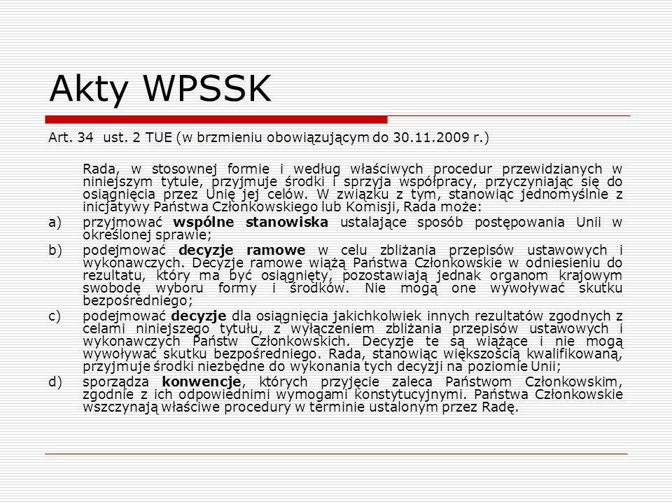 Akty WPSSKArt. 34 ust. 2 TUE (w brzmieniu obowiązującym do 30.11.2009 r.)