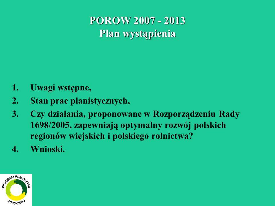POROW 2007 - 2013 Plan wystąpienia