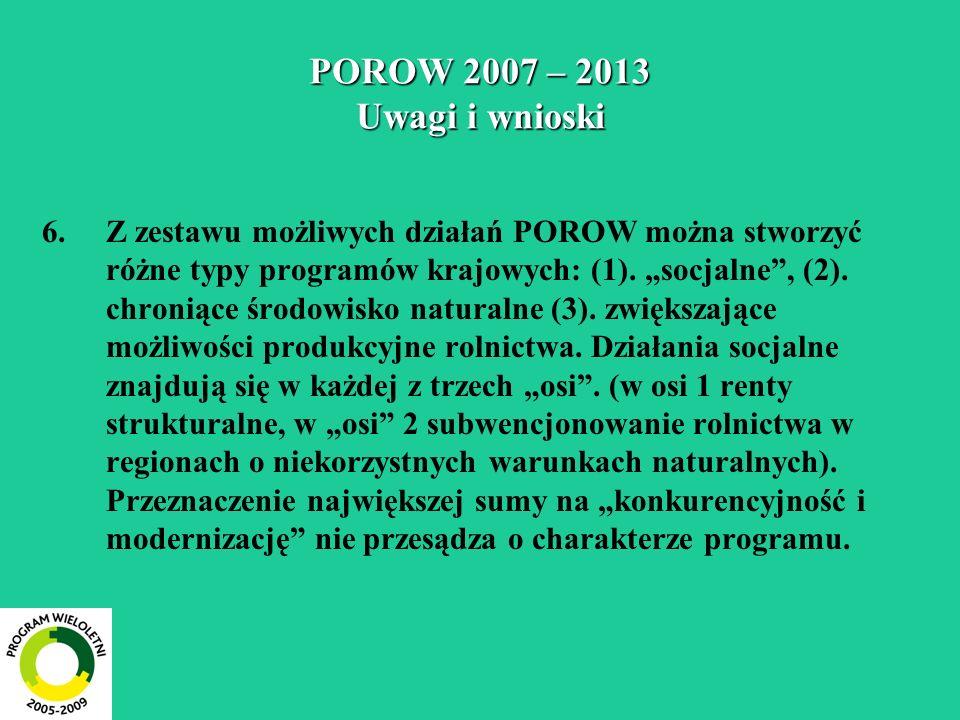 POROW 2007 – 2013 Uwagi i wnioski