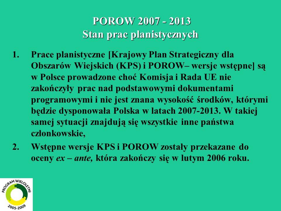 POROW 2007 - 2013 Stan prac planistycznych